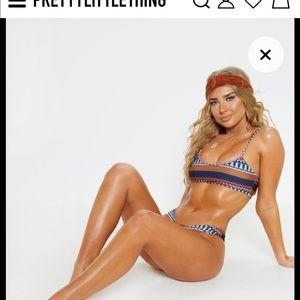 Brown Geo Stripe Bikini Top NWT Sz 12